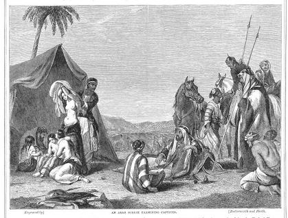 Abraham Cooper, XIXth Century: Arab sheikh examining captives (note the half-naked women on the ground trying to comfort each other)