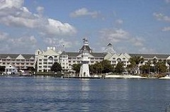The view from our hotel across the water to the Disney Yacht Club Resort.