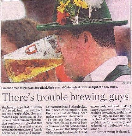 Drinking Beer will turn Men into Women