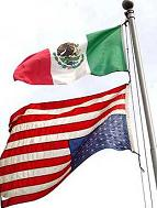 upside down American flag - mexican flag on top